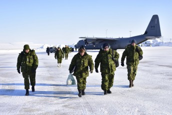 Canadian Forces soldiers deplane after landing during Operation Nunalivut near Resolute,NU on Friday Apr 8, 2016. Operation Nunalivut featured over 200 personal from every branch of the Canadian Forces and military partners from the United States and Denmark. Gavin John/Special to PostMedia Network