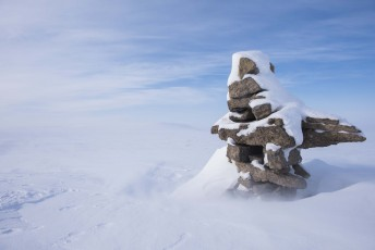 An Inukshuk stands outside of the Canadian Forces base of operation during Operation Nunalivut near Resolute,NU on Saturday Apr 9, 2016. Operation Nunalivut featured over 200 personal from every branch of the Canadian Forces and military partners from the United States and Denmark. Gavin John/Special to PostMedia Network