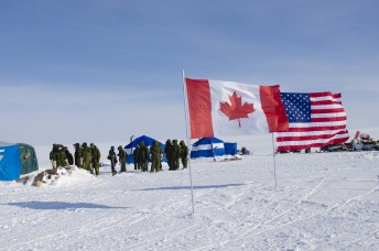 Canadian and American soldiers stand outside a camp during Operation Nunalivut near Resolute,NU on Saturday Apr 9, 2016. Operation Nunalivut featured troops from the US Alaska Command in a joint project to build a skiway for aircraft on the ice. Gavin John/Special to PostMedia Network