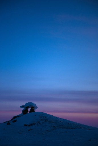 An Inukshuk stands on a hill overlooking Resolute, NUduring Operation Nunalivut on Saturday Apr 9, 2016. Operation Nunalivut featured over 200 personal from every branch of the Canadian Forces and military partners from the United States and Denmark. Gavin John/Special to PostMedia Network