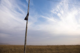 A tattered Islamic State flag flies on a power line in Bishaqa, Iraq on Thursday Nov 10, 2016. The town was liberated two days ago by Iraqi Peshmerga forces along with reports of Canadian Special Forces.  Gavin John